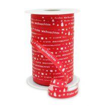 "Kräuselband Rot ""Frohe Weihnachten"" B10mm 150m"