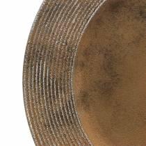 Dekoteller aus Kunststoff mit Rost-Effekt Ø33cm