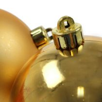 Christbaumkugeln Plastik Gold 8cm 6St