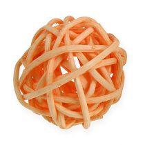 Rattanball Orange, Apricot, gebleicht 72St
