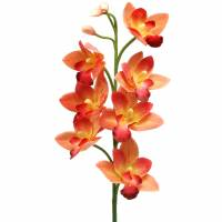 Orchidee Kunstblume Cymbidium Orange 74cm