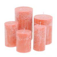 Durchgefärbte Kerzen Lachs unterschiedliche Größen