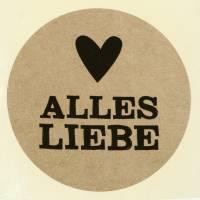 """Etiketten """"Alles Liebe"""" Natur Ø3,5cm 500St"""