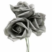 Foam-Rose Ø6cm Grau 27St