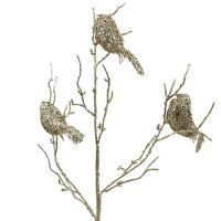 Glitzerzweig mit Vögeln 75cm gold