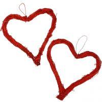 Herz aus Bast zum Hängen Rot 15cm 8St