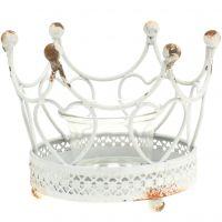 Teelichthalter Krone Weiß Ø13cm H9,5cm