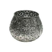 Metallwindlicht Silber orientalisch Ø10cm H7,5cm 1St
