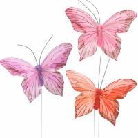 Federschmetterling am Draht 10cm Rosa, Lila, Lachs 12St