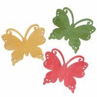 Streudeko Schmetterling Holz Orange, Gelb, Grün 4cm 72St