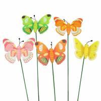 Blumenstecker Schmetterling Holz Sortiert 7,5cm 16St