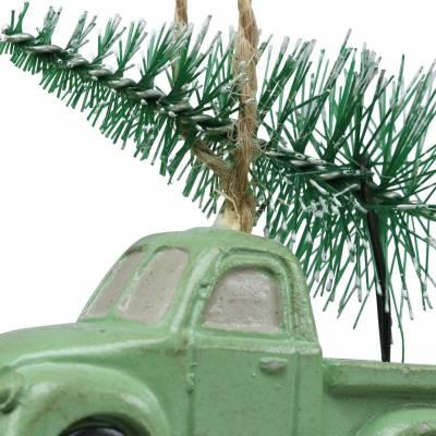 Christbaumschmuck Auto mit Tanne Rot/Grün 2St