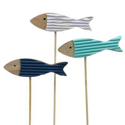 Dekostecker Fisch Holz Türkis Blau Weiß 8cm H31cm 24St