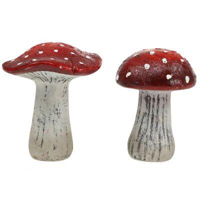 Fliegenpilze aus Keramik Rot, Weiß H12,5cm 2St