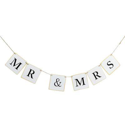 """Girlande """"Mr & Mrs"""" 85cm Weiß 1St"""