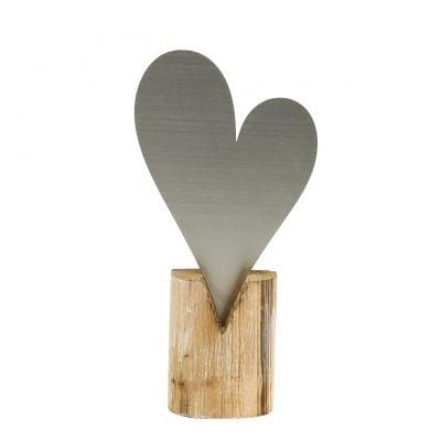 Herz Silber am Holzfuß 22cm x 11cm