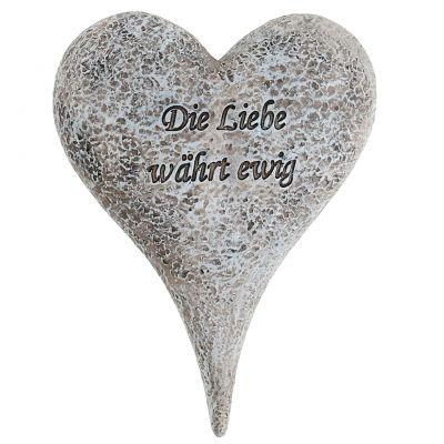 Gedenkfiguren Herz mit Spruch Grau 14cm x 10,5cm 4St