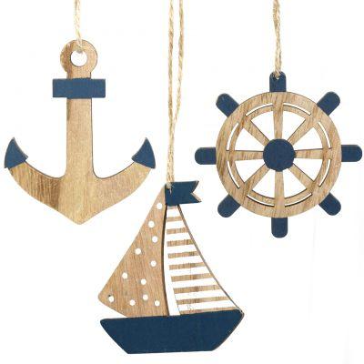 Holzhänger Maritim 8,5-10cm  6St