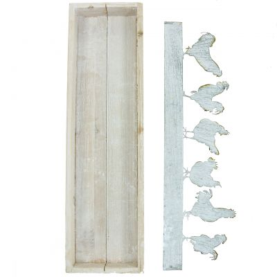 Holztablett mit Dekostecker Hahn 46cm