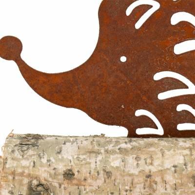 Igel Edelrost am Holzfuß 26cm x 18cm