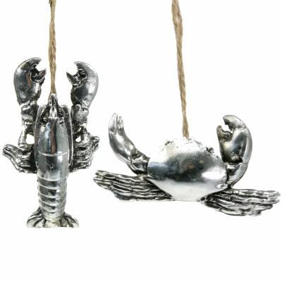 Deko Krebs und Hummer zum Hängen Antik Silber 9cm 2St