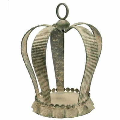 Deko Krone Antik Metall Moosgrün, Beige Ø28cm H36,5cm