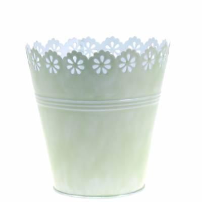 Übertopf Blütenornament Hellgrün Ø12,5cm H13,5cm