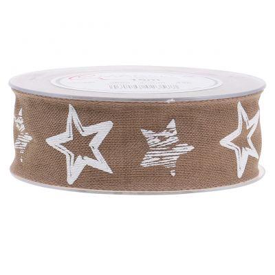 Dekorationsband aus Jute mit Sternmotiv Braun 40mm 15m