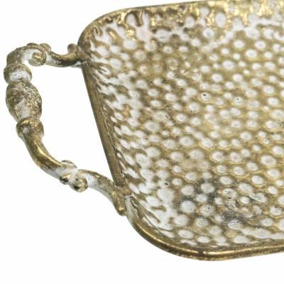 Deko Tablett mit Griffen Antik Gold 53cm x 18cm