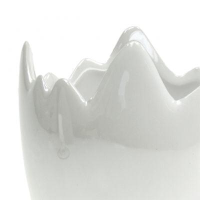 Übertopf Eierschale Weiß Perlmutt Ø8cm H9cm 3St