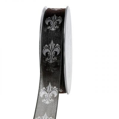 Trauerband Schwarz mit Muster 25mm 20m