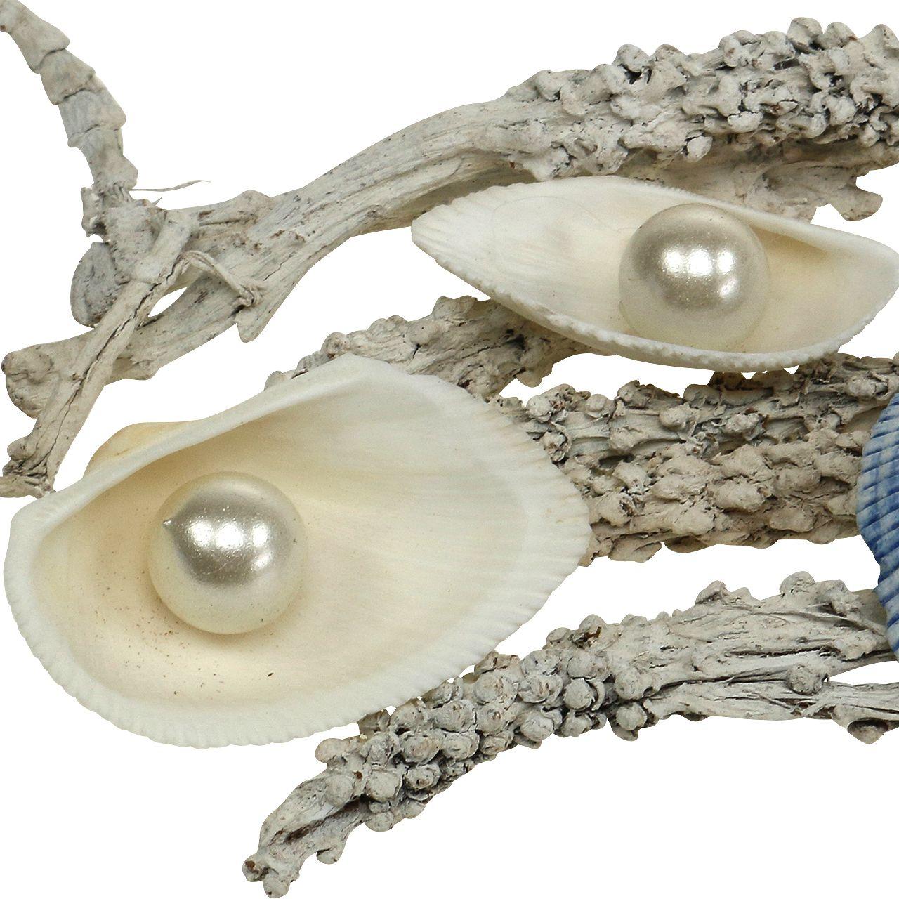 dekomix muschel mit perle und holz weiß blau 200g