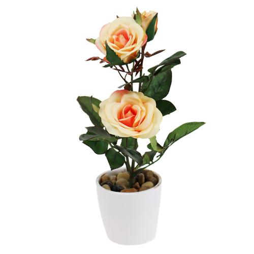 deko rose im topf lachs 23cm preiswert online kaufen. Black Bedroom Furniture Sets. Home Design Ideas