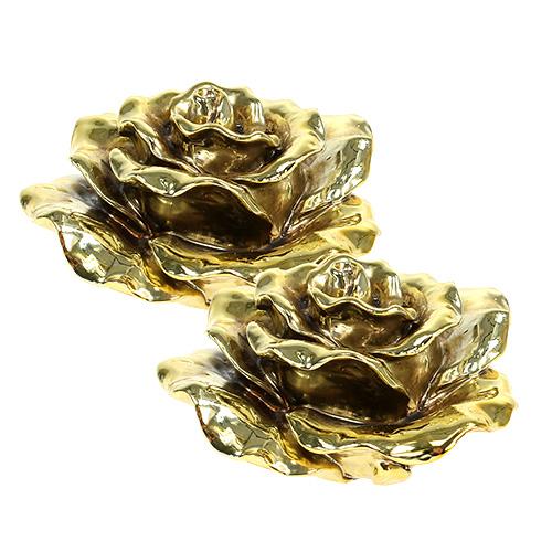 deko rose 12cm gold gl nzend 4st preiswert online kaufen. Black Bedroom Furniture Sets. Home Design Ideas