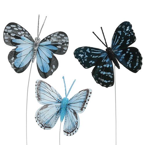 deko schmetterlinge blau mit glitter 8cm 6st preiswert. Black Bedroom Furniture Sets. Home Design Ideas