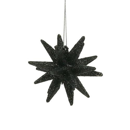 deko sterne schwarz glimmer 7 5cm 8st preiswert online kaufen. Black Bedroom Furniture Sets. Home Design Ideas