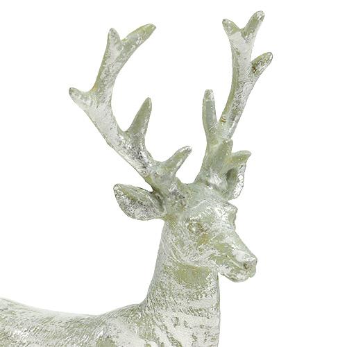 Dekofigur hirsch hellgr n silber 22cm preiswert online kaufen for Silberner hirsch