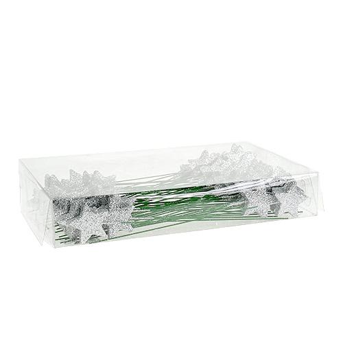 Glitterstern silber 4cm am draht 60st preiswert online kaufen for Silberdraht kaufen