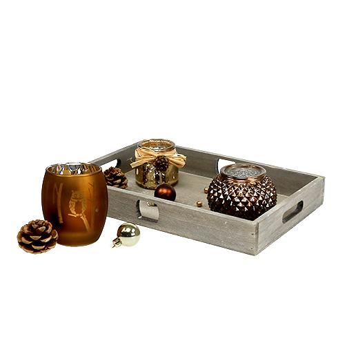 holztablett mit 3 teelichtgl sern braun gold preiswert online kaufen. Black Bedroom Furniture Sets. Home Design Ideas