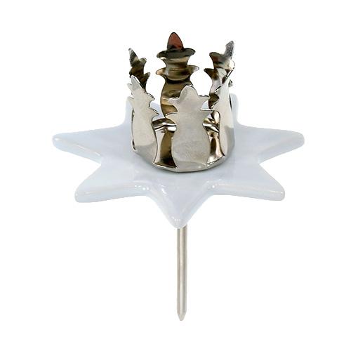 Stern Perlen Silber Eiskristall Metall Weiß Weihnachten: Kerzenhalter Stern Weiß-Silber Ø6cm 4St Preiswert Online
