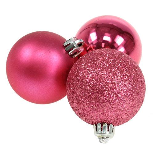 kunststoff weihnachtskugeln pink 6cm 10st preiswert. Black Bedroom Furniture Sets. Home Design Ideas