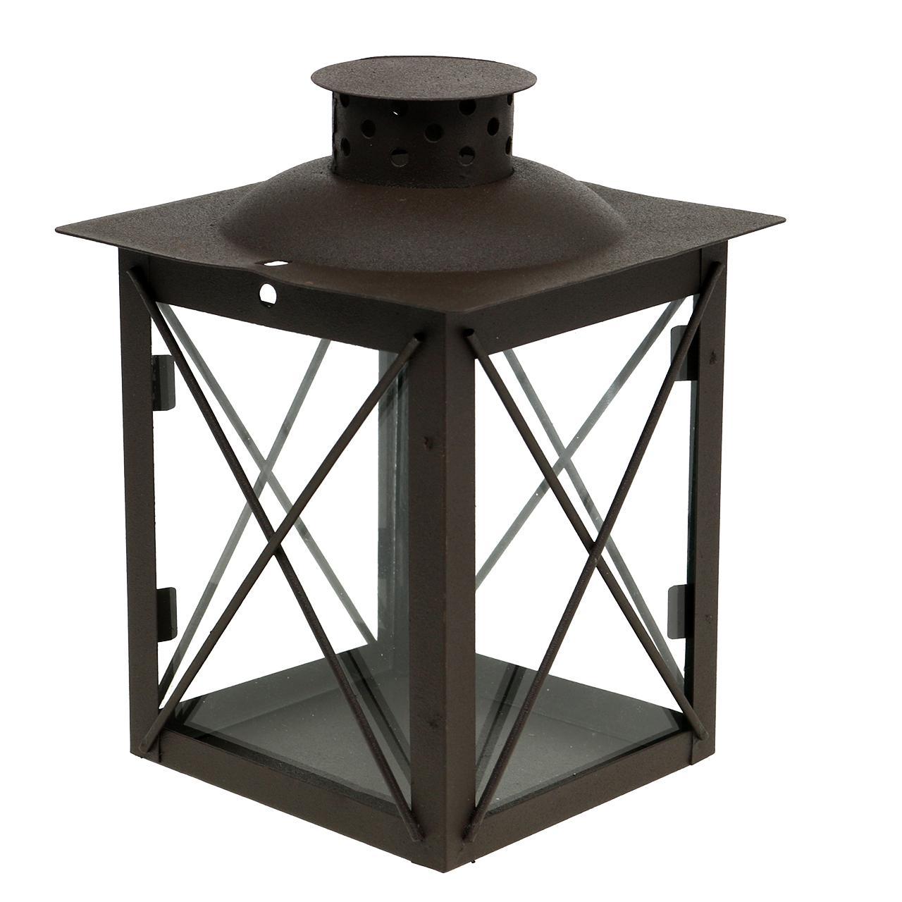 laterne aus metall rost 12cm x12cm h13cm preiswert online kaufen. Black Bedroom Furniture Sets. Home Design Ideas