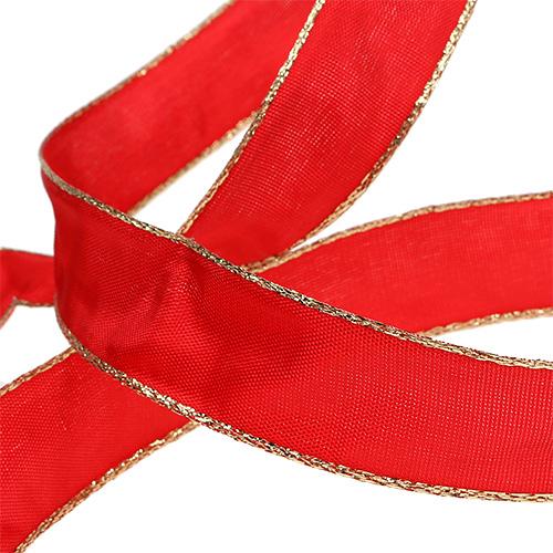 seidenband rot mit goldkante 25mm 25m preiswert online kaufen. Black Bedroom Furniture Sets. Home Design Ideas