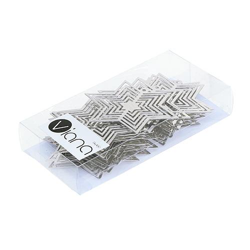 Stern Perlen Silber Eiskristall Metall Weiß Weihnachten: Stern Metall Silber 6cm 24St Preiswert Online Kaufen