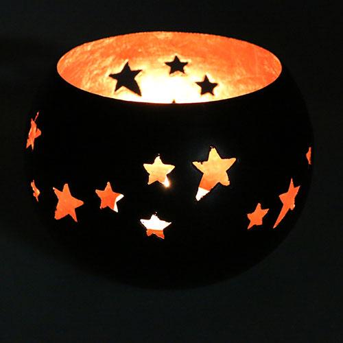 Teelicht Mit Sternenmuster Ø10cm Schwarz, Kupfer Preiswert