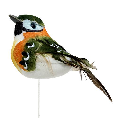 vogel mit feder 7cm gr n braun12st preiswert online kaufen. Black Bedroom Furniture Sets. Home Design Ideas