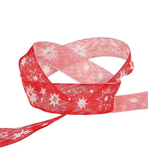 Weihnachtsband Rot mit Sternmuster 25mm 20m