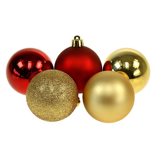 weihnachtskugeln gold rot mix kunststoff 6cm 30st. Black Bedroom Furniture Sets. Home Design Ideas