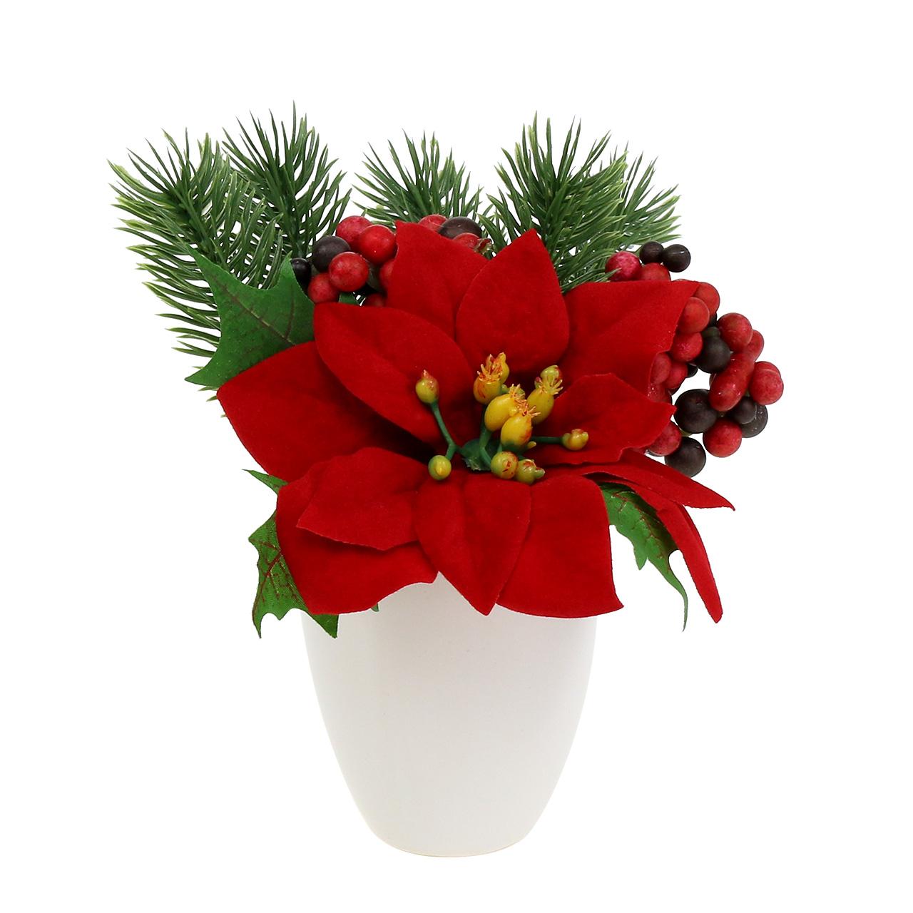 weihnachtsstern im topf rot k nstlich h11cm preiswert. Black Bedroom Furniture Sets. Home Design Ideas