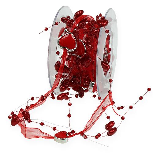 deko band mit perlen herzen rot 10mm 2m preiswert online kaufen. Black Bedroom Furniture Sets. Home Design Ideas